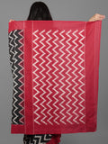Black Ivory Maroon Double Ikat Handwoven Pochampally Cotton Saree - S031701931