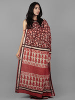 Cheery Red Ivory Black Bagru Dabu Hand Block Printed in Cotton Mul Saree - S031701949