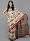Beige Maroon Black Hand Block Printed in Cotton Mul Saree - S031701953