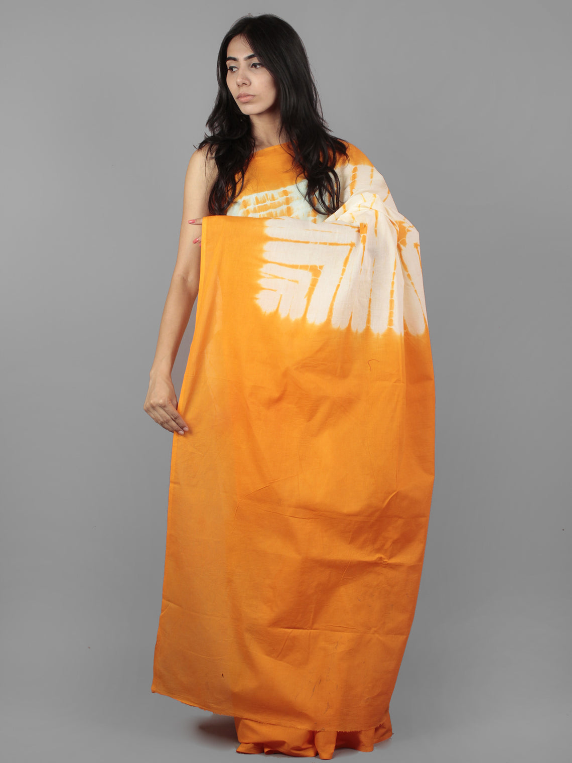 Orange Ivory Hand Shibori Dyed Cotton Mul Saree  - S031701954