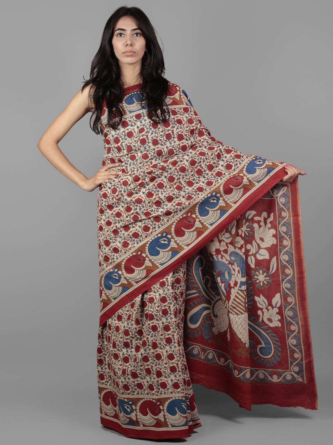 Beige Maroon Blue Hand Block Printed in Cotton Mul Saree With Kalamkaari Pallu - S031701955
