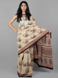 Beige Brown Black Maroon Hand Block Printed Cotton Mul Saree - S031701957