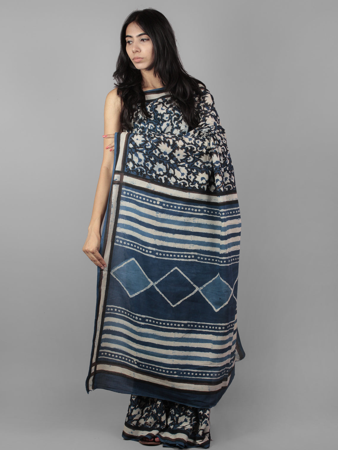 Indigo Ivory Black Bagru Dabu Hand Block Printed in Cotton Mul Saree - S031701960