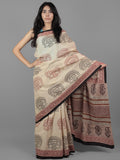 Beige Black Maroon Hand Block Printed Cotton Mul Saree - S031701961