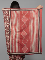 Cherry Red Ivory Black Bagru Dabu Hand Block Printed in Cotton Mul Saree - S031701964