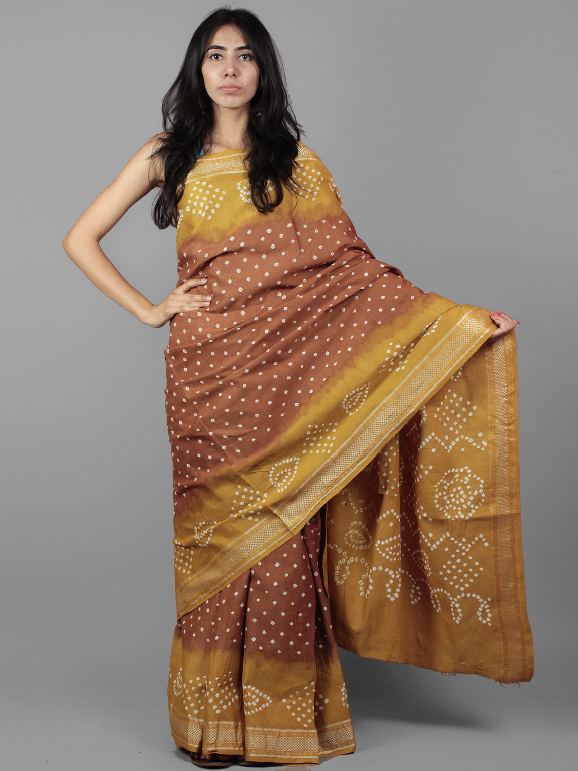 49fee7299a Brown Mustard Ivory Hand Tie & Dye Bandhej Glace Cotton Saree With Resham  Border - S031701969 ...