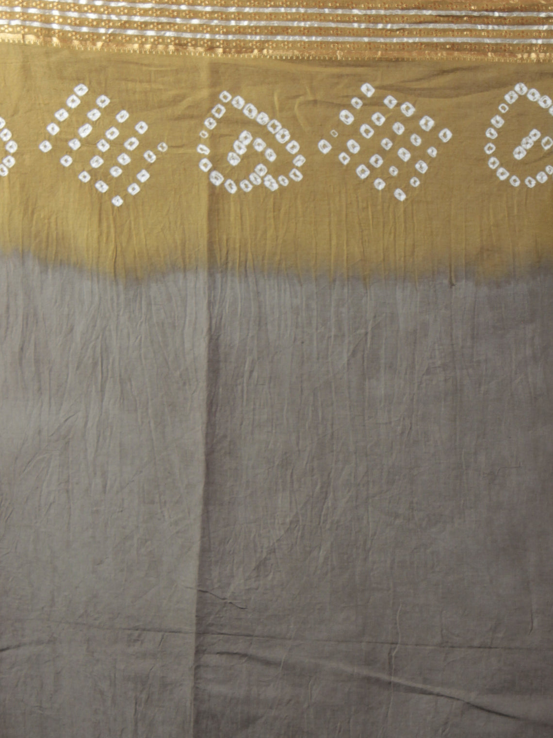 Grey Brown Ivory Hand Tie & Dye Bandhej Glace Cotton Saree With Resham Border - S031701975