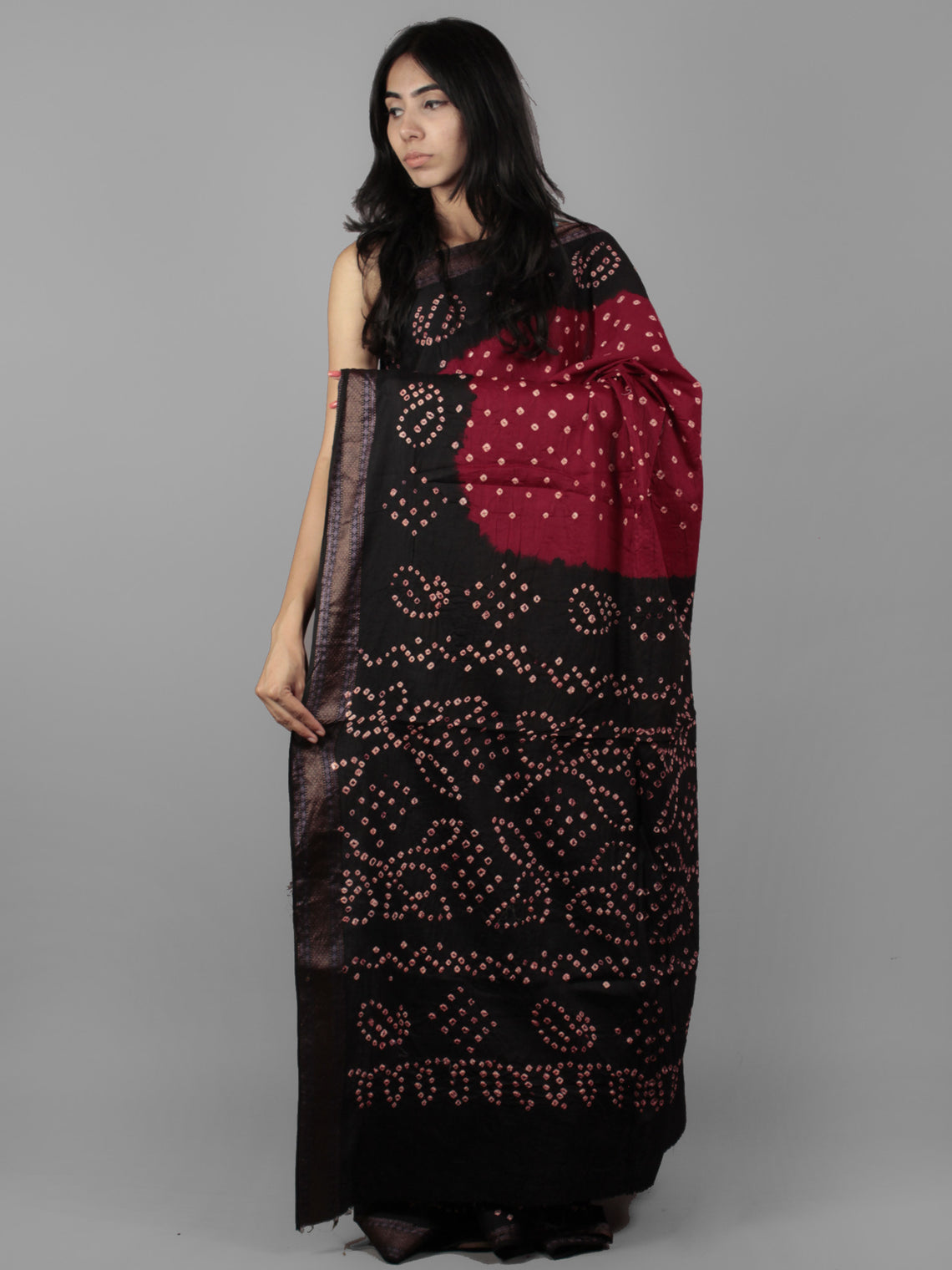 Maroon Dark Brown Ivory Hand Tie & Dye Bandhej Glace Cotton Saree With Resham Border - S031701978