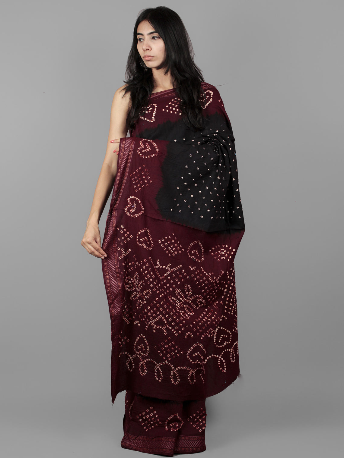 Black Maroon Ivory Hand Tie & Dye Bandhej Glace Cotton Saree With Resham Border - S031701980