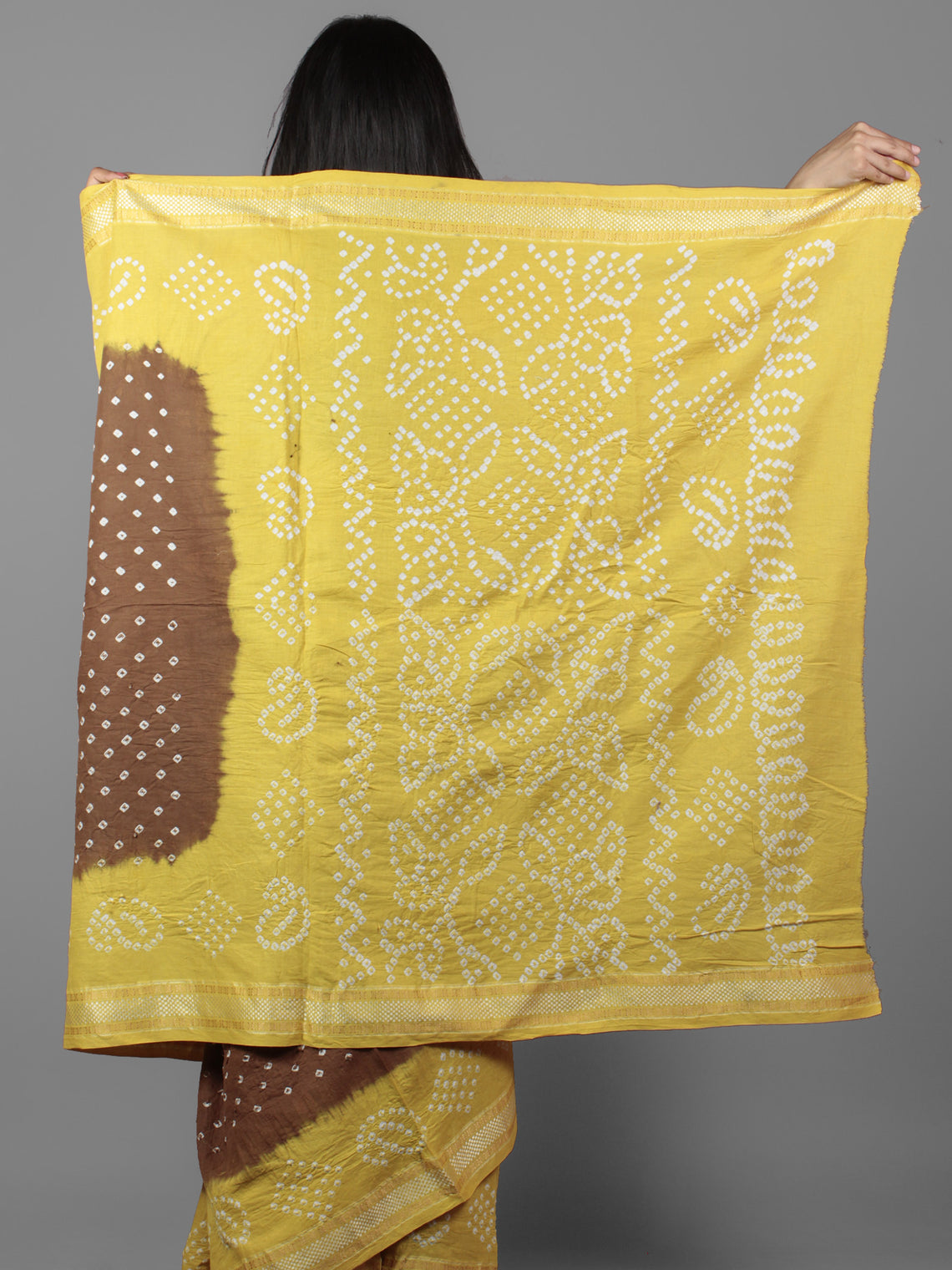 Brown Yellow Ivory Hand Tie & Dye Bandhej Glace Cotton Saree With Resham Border - S031701986