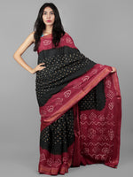 Dark Green Pink Ivory Hand Tie & Dye Bandhej Glace Cotton Saree With Resham Border - S031701989