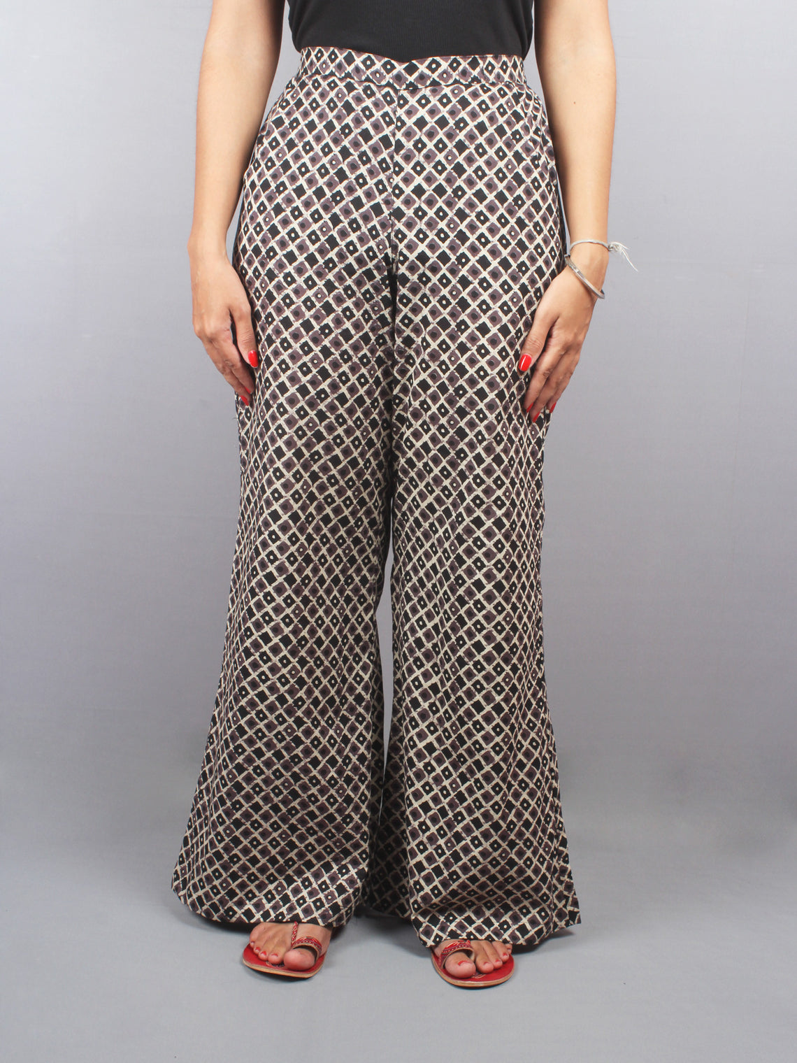 Beige Brown Hand Block Printed Elasticated Waist Straight Cotton Palazzo - P1117028