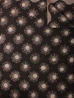 Black Brown Beige Hand Block Printed Cotton Cambric Fabric Per Meter - F0916396