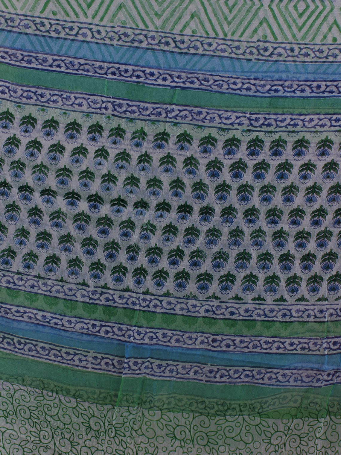 Ivory Blue Green Hand Block Printed Cotton Suit-Salwar Fabric With Chiffon Dupatta - S16281231