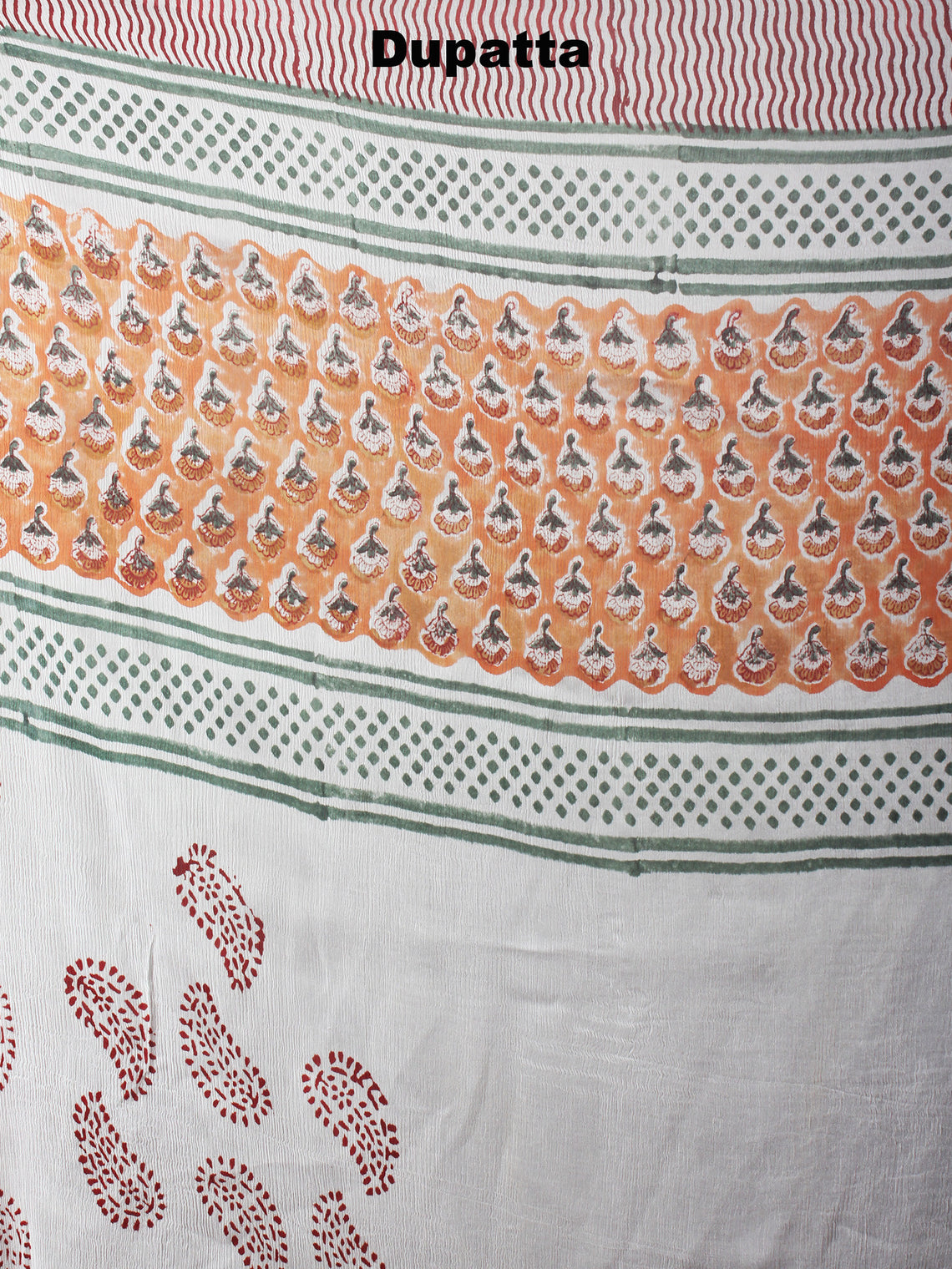 Orange White Grey Hand Block Printed Cotton Suit-Salwar Fabric With Chiffon Dupatta - S1628042