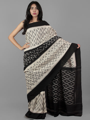 Black Ivory Grey Ikat Handwoven Pochampally Mercerized Cotton Saree - S031702024