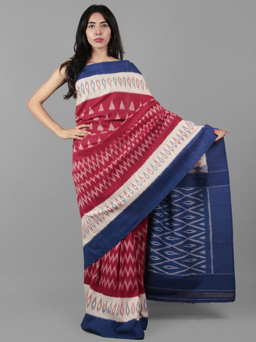 Maroon Blue Ivory Grey Ikat Handwoven Pochampally Mercerized Cotton Saree - S031702030