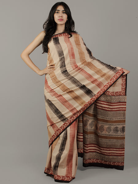 Beige Black Maroon Brown Hand Block Printed & Hand Painted Cotton Mul Saree - S031702061
