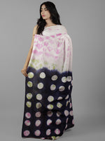 White Indigo Pink Green Shibori Dyed Cotton Saree - S031702067