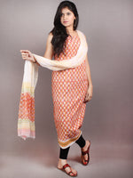 Pink Yellow White Green Hand Block Printed Cotton Suit-Salwar Fabric With Chiffon Dupatta - S1628061