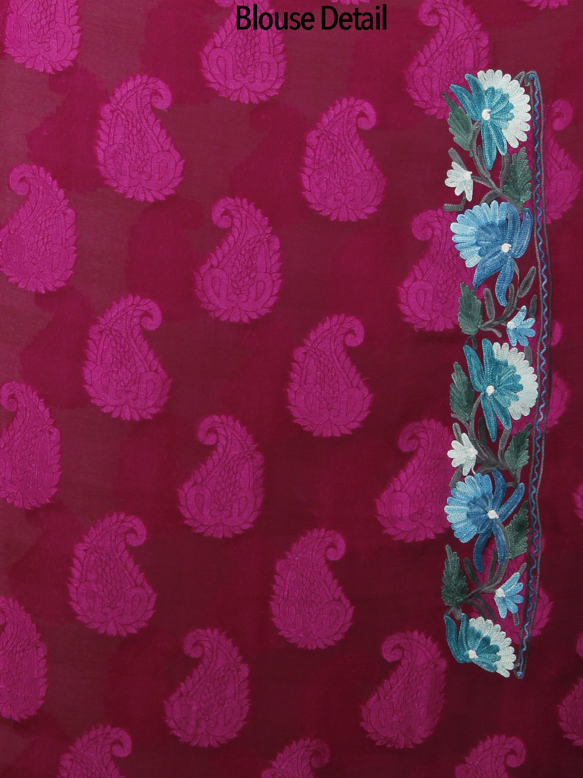 Maroon Purple Teal Blue Ivory Aari Embroidered Chiffon Saree With Paisley Self From Kashmir  - S031702143