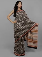 Black Beige Maroon Cotton Hand Block Printed Saree in Natural Colors - S031702206