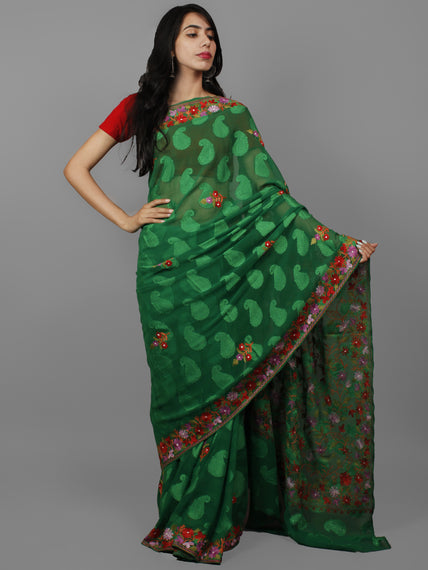 Green Lavender Red Aari Embroidered Chiffon Saree With Paisley Self From Kashmir  - S031702144