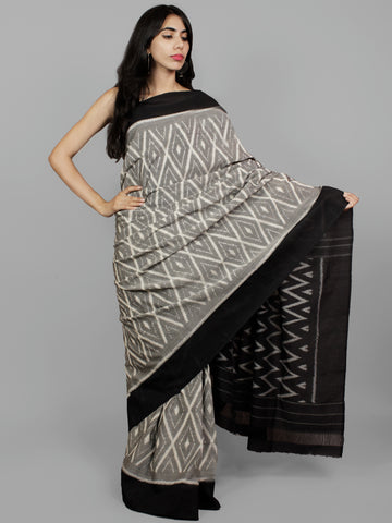 Grey Black Ivory Ikat Handwoven Pochampally Mercerized Cotton Saree - S031702195