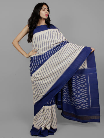 Navy Blue Ivory Grey Ikat Handwoven Pochampally Mercerized Cotton Saree - S031702196