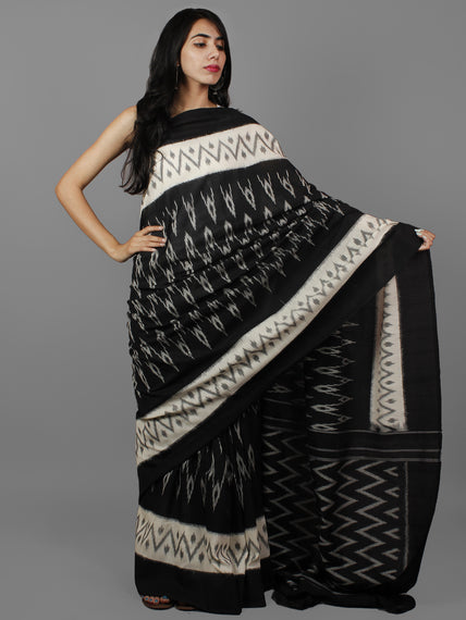 Black White Ikat Handwoven Pochampally Mercerized Cotton Saree - S031702173