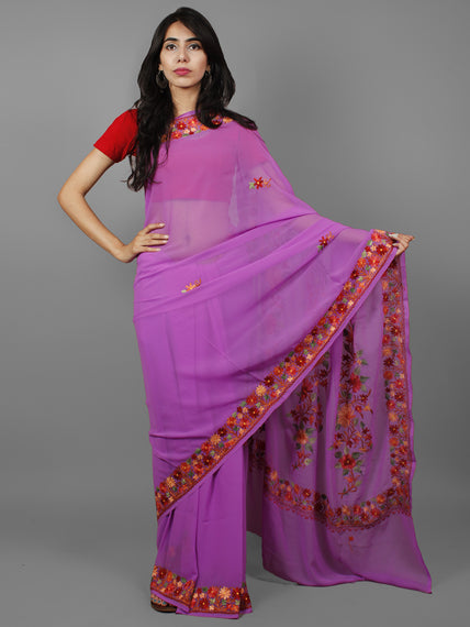 Lavender Green Yellow Red Aari Embroidered Georgette Saree From Kashmir  - S031702159