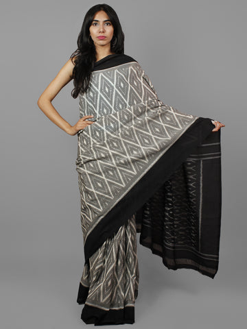 Grey Black Ivory Ikat Handwoven Pochampally Mercerized Cotton Saree - S031702194