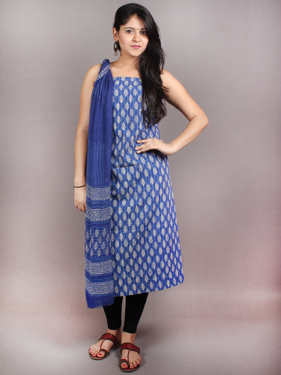 Indigo White Black Hand Block Printed Cotton Suit-Salwar Fabric With Chiffon Dupatta - S1628062