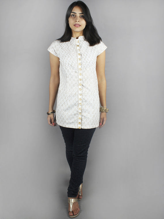 White Beige Hand Block Printed Shirt- S3517022