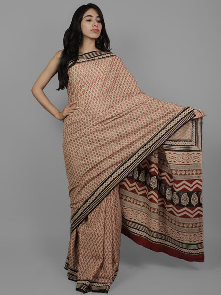 Beige Maroon Black Cotton Hand Block Printed Saree in Natural Colors - S031702220