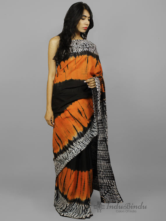 Orange Black Ivory Hand Shibori Dyed Cotton Saree - S031702224