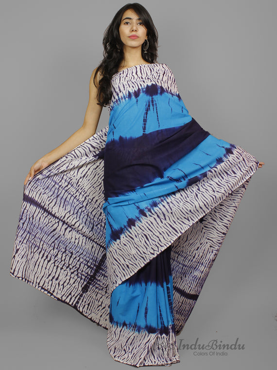Blue Indigo Ivory Shibori Dyed Cotton Saree - S031702236