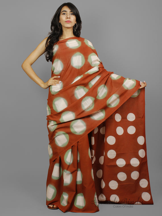 Rust Brown Green Ivory Shibori Dyed Cotton Saree - S031702239