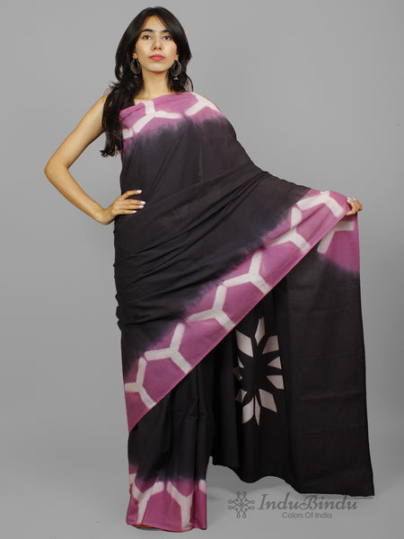 Black Purple White Shibori Dyed Cotton Saree - S031702243