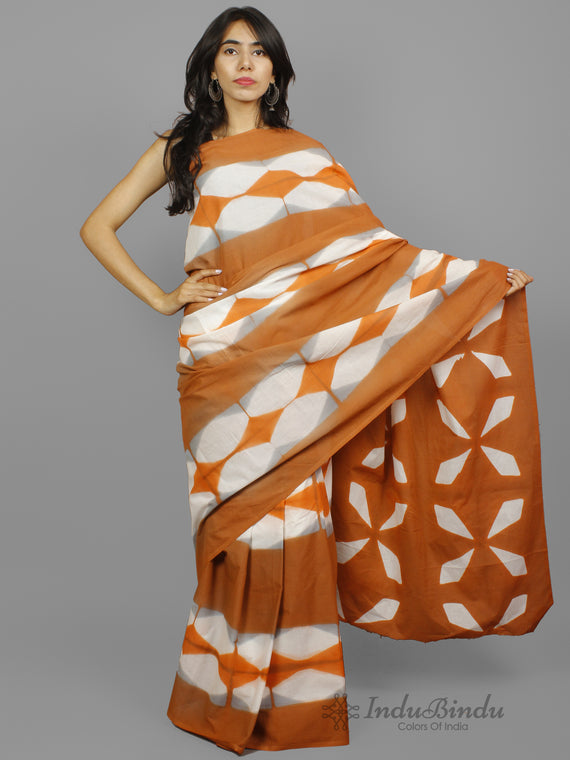 Peanut Brown White Grey Hand Block Printed Cotton Saree - S031702244