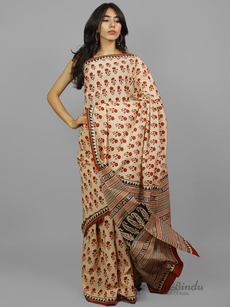 Beige Maroon Black Hand Block Printed Cotton Saree in Natural Colors - S031702247