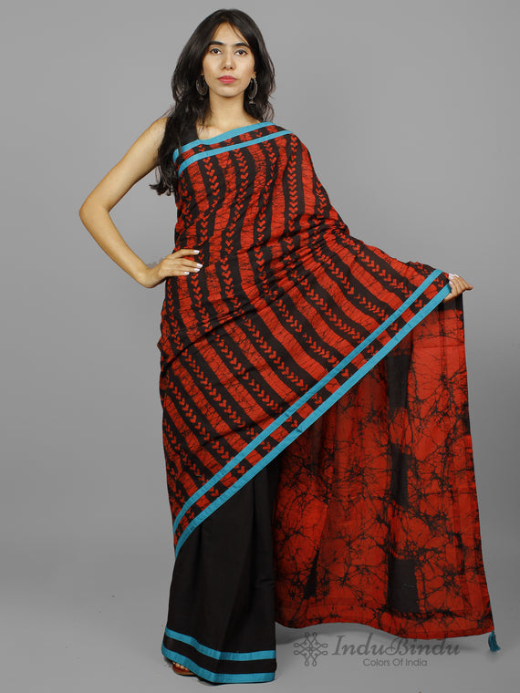 Black Red Hand Batik Printed Cotton Saree With Blue Border & Tassels - S031702253