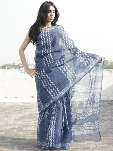 Indigo Ivory Hand Block Printed Kota Doria Saree in Natural Colors - S031702265