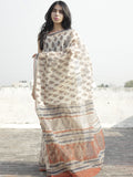 Beige Maroon Blue Hand Block Printed Kota Doria Saree in Natural Colors - S031702269