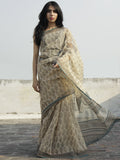 Beige Black Grey Hand Block Printed Kota Doria Saree in Natural Colors - S031702272