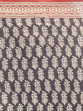 Black Beige Red Hand Block Printed in Cotton Mul Saree - S031702281