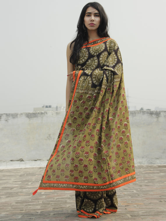 Olive Green Black Ivory Hand Block Printed & Thread Embroidered Cotton Saree With Orange Border & Tassels - S031702284