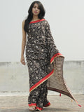 Black Kashish Ivory Hand Block Printed Cotton Saree With Red Border & Tassels - S031702286