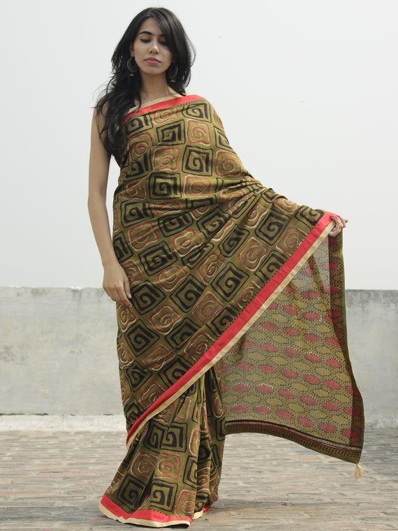 Olive Green Black Maroon Ivory Hand Block Printed Cotton Saree With Red Border & Tassels - S031702290