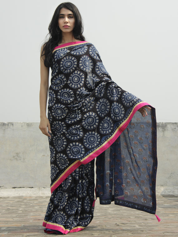 Indigo Black Ivory Hand Block Printed Cotton Saree With Pink Border & Tassels - S031702292